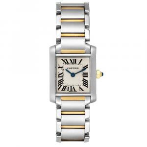 Cartier Silver Yellow Gold And Stainless Steel Tank Francaise W51007Q4 Women's Wristwatch 20 x 25 MM