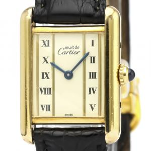 Cartier Ivory Gold Plated Steel Must Tank Vermeil Quartz Vintage Women's Wristwatch 21 MM