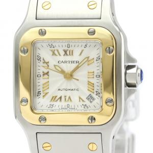 Cartier Silver 18K Yellow Gold And Stainless Steel Santos Galbee W20045C4 Women's Wristwatch 24 MM