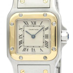 Cartier Silver 18K Yellow Gold And Stainless Steel Santos Galbee Quartz 166930 Women's Wristwatch 24 MM