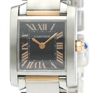 Cartier Black 18K Rose Gold And Stainless Steel Tank Francaise Quartz W5010001 Women's Wristwatch 20 MM