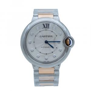 Cartier Ballon Bleu Steel & Rose Gold Diamond Dial Automatic Women's Watch 36 MM