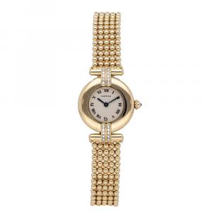 Cartier Silver 18K Yellow Gold Colisee WB1019A8 Women's Wristwatch 23 MM