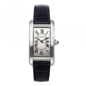 Cartier Silver Stainless Steel Tank Americaine WSTA0017 Women's Wristwatch 41 x 22 MM