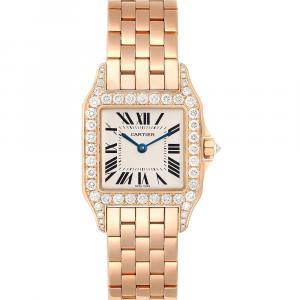 Cartier Silver Diamonds 18K Rose Gold Santos Demoiselle WF9007Z8 Women's Wristwatch 26 MM