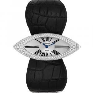 Cartier Silver Diamonds 18K White Gold Callison Navette 2908 Women's Wristwatch 55 x 20 MM