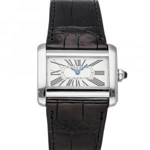 Cartier Silver Stainless Steel Tank Divan W6300255 Women's Wristwatch 32 x 26 MM