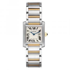 Cartier Silver 18K Yellow Gold And Stainless Steel Tank Francaise W51012Q4 Women's Wristwatch 25 x 30 MM