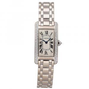 Cartier Silver Diamonds 18K White Gold Tank Americaine WB7018L1 Women's Wristwatch 28 x 19 MM