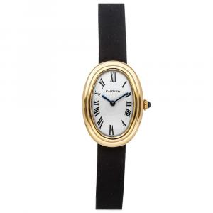 Cartier Silver 18K Yellow Gold Vintage Baignoire Women's Wristwatch 31 x 23 MM