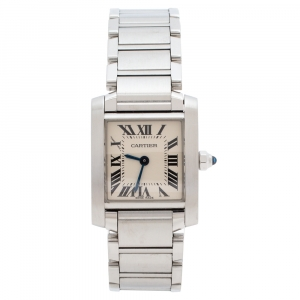 ساعة يد نسائية كارتييه تانك فرانسيه ستانلس ستيل بيضاء ميتالك 20 مم