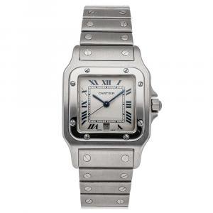 Cartier Silver Stainless Steel Santos Galbee W20018D6 Women's Wristwatch 28.5 MM