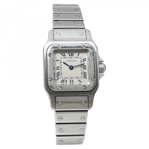 ساعة يد نسائية كارتييه سانتوس غالبي 9057930 ستانلس ستيل بيضاء 24 مم