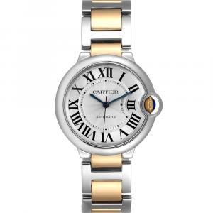 Cartier Silver 18K Yellow Gold And Stainless Steel Ballon Bleu W2BB0012 Women's Wristwatch 36 MM