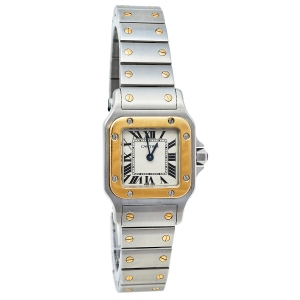 Cartier 18K Yellow Gold And Stainless Steel Santos Galbee 1567 Women's Wristwatch 24 mm