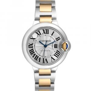 Cartier Silver 18K Yellow Gold And Stainless Steel Ballon Bleu Automatic W2BB0002 Women's Wristwatch 33 MM