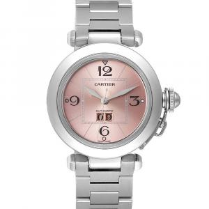 Cartier Pink Stainless Steel Pasha W31058M7 Women's Wristwatch 35 MM