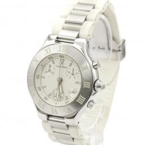 Cartier White Stainless Steel Must 21 Chronoscaph W10197U2 Quartz Women's Wristwatch 32 MM