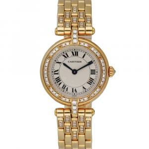 Cartier Silver Diamonds 18K Yellow Gold Panthere Vendome 8057916 Women's Wristwatch 24 MM