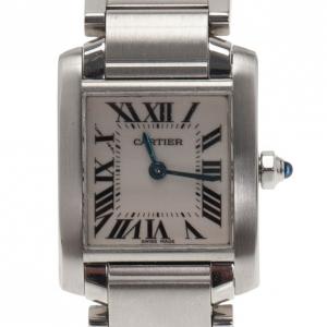 Cartier Silver Stainless Steel Tank Francaise Women's Wristwatch 20MM