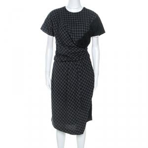 Carven Bicolor Checked Cotton Lace Trim Detail Dress M