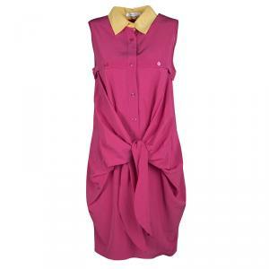 فستان كارفن وردي بياقة متباينة ربطة مزينة بلا أكمام S