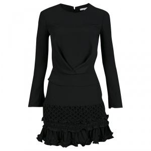 فستان كارفن كريب مغربي أسود بكشكشة أكمام طويلة S