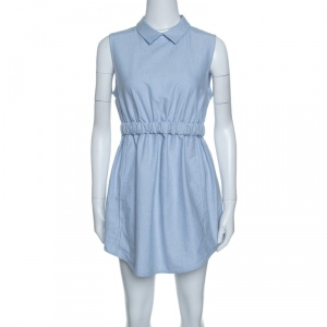 Carven Blue Chambray Gathered Waist Sleeveless Dress M - used