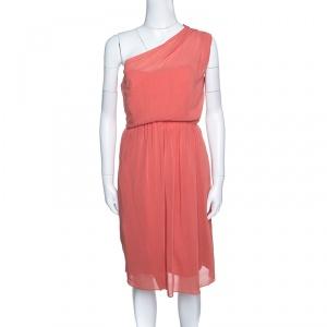 فستان كارفن كريب برتقالي بوبي بطيات وكتف واحد M