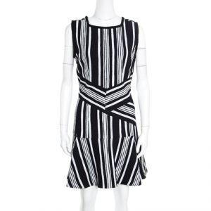 Carven Monochrome Textured Cutout Back Detail Sleeveless Dress L - used