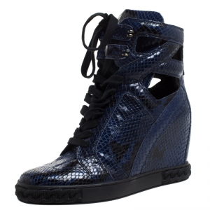 Casadei Blue/Black Python Embossed Leather Wedge Cut Out Chain Motif Buckle Ankle Boots Size 39 -