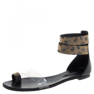 Casadei Two Tone Crystal Embellished Ankle Cuff and PVC Vinil Flat Sandals Size 38 -