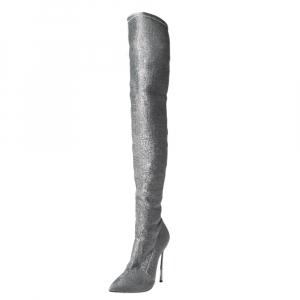 Casadei Silver Lurex Blade Thigh High Boots Size 39