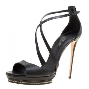 Casadei Black Leather Cross Strap Platform Sandals Size 39 - used