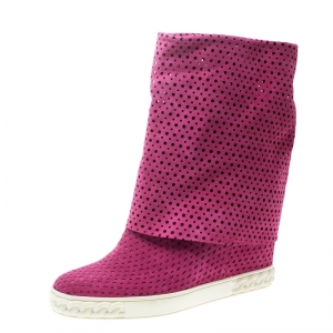 Casadei Pink Perforated Suede Wedge Boots Size 39 - used