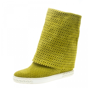 Casadei Lime Green Perforated Suede Wedge Boots Size 39 - used