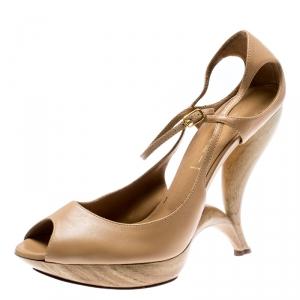 Casadei Beige Leather Peep Toe Ankle Strap Sculpted Heel Platform Sandals Size 40 - used