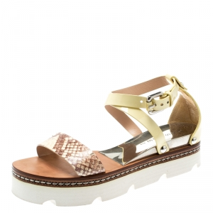 Casadei Yellow Patent Leather And Two Tone Python Embossed Leather Cross Strap Platform Sandals Size 37 - used