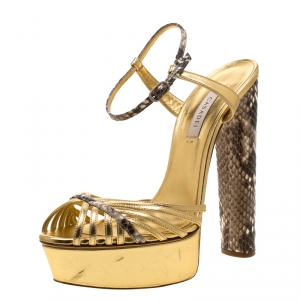 Casadei Gold/Beige Leather and Python Trim Strappy Platform Open Toe Sandals Size 38 - used
