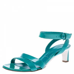 Casadei Turquoise Patent Leather Open Toe Cross Strap Mid Heel Sandals Size 36 - used