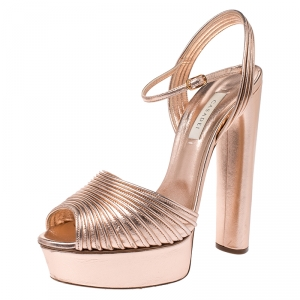 Casadei Metallic Embossed Bronze Leather Piping Detail Ankle Strap Platform Sandals Size 39 - used