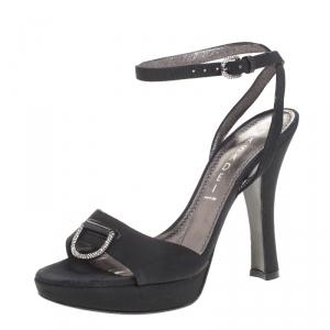 Casadei Black Grosgrain Fabric Crystal Embellished Platform Ankle Strap Sandals Size 37 - used