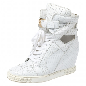 Casadei White Python Embossed Leather Wedge Cut Out Chain Motif Buckle Ankle Boots Size 40 - used