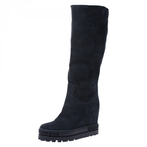 Casadei Navy Blue Suede Concealed Wedge Knee Length Boots Size 39 - used