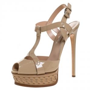Casadei Beige Patent Leather T-Strap Platform Sandals Size 39.5 - used
