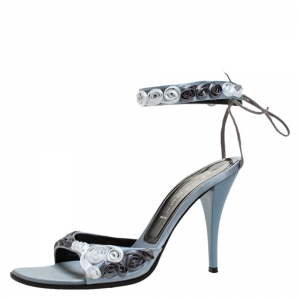Casadei Grey Satin Floral Ankle Tie Up Sandals Size 38 - used