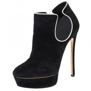 Casadei Black Suede Platform Slip On Booties Size 38 - used