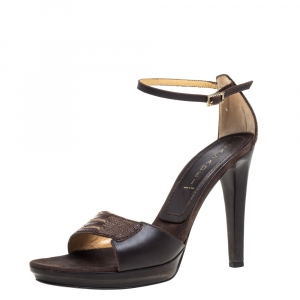 Casadei Brown Leather and Ostrich Leg Ankle Strap Platform Sandals Size 40