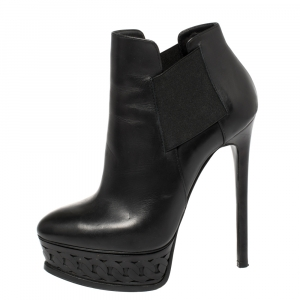 Casadei Black Leather Chain Effect Platform Ankle Boots Size 36