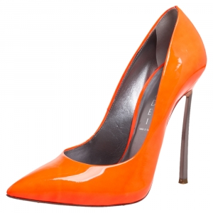 Casadei Neon Orange Leather Blade Pumps Size 37